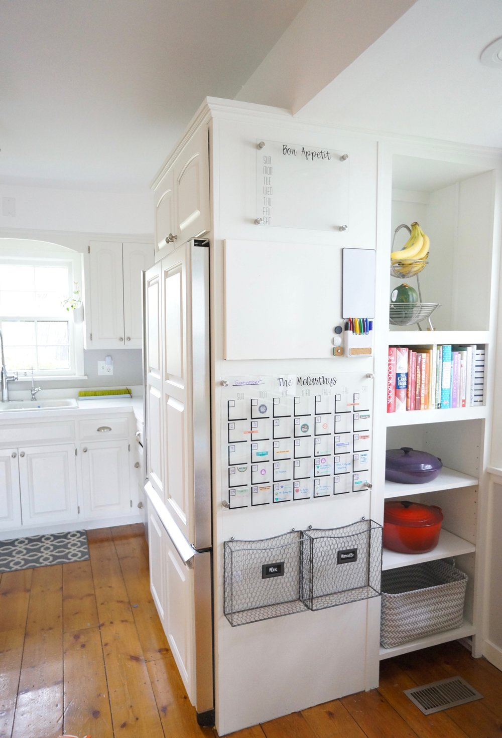 Using any blank space in your home, you can create a Family Command Center. This can be in your kitchen, mudroom or any other space your family frequently uses.