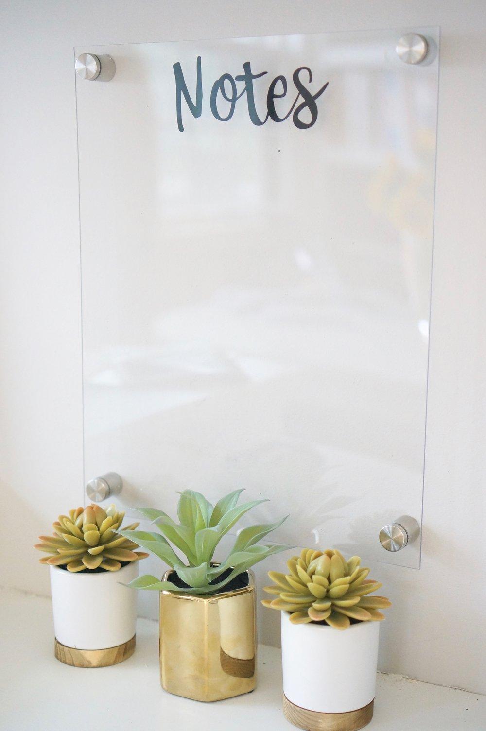 acrylic notes board