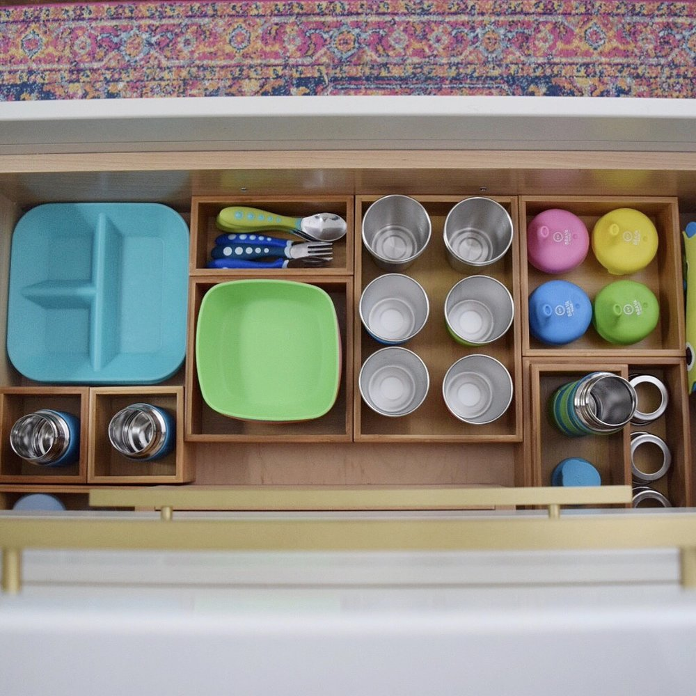 plastic free kids dishes organized