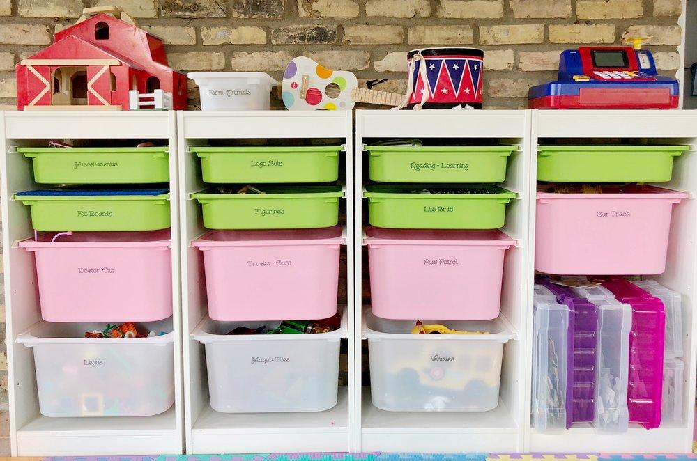 kids playroom organization and bins