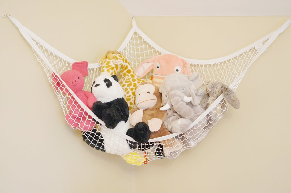 Stuffy overload? Sometimes it can be difficult to get rid of any kind of lovie. I adore this  toy hammock  to contain the mountains of stuffed animals we have around the house. Attach one in the playroom and one in the kiddo's room for easy stuffy storage.