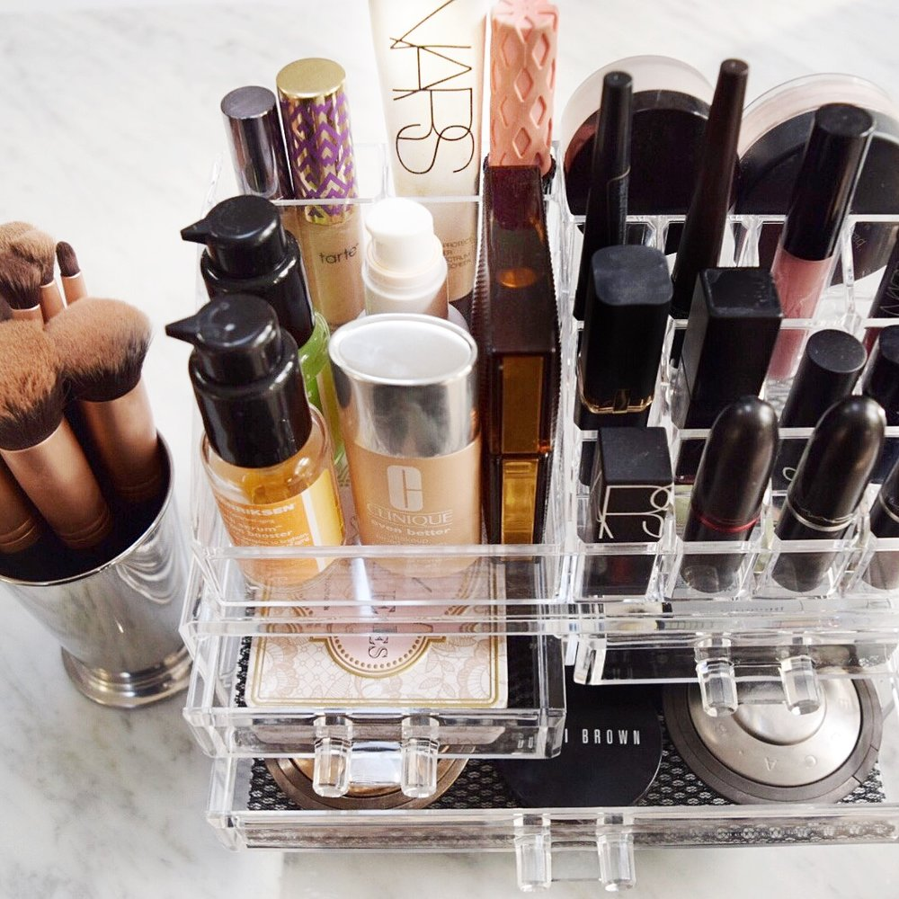 makeup organized in a beauty organizer