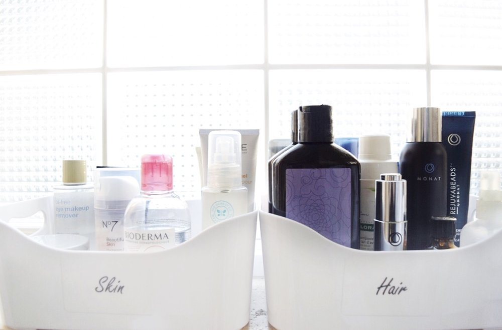 hair and skin care products organized