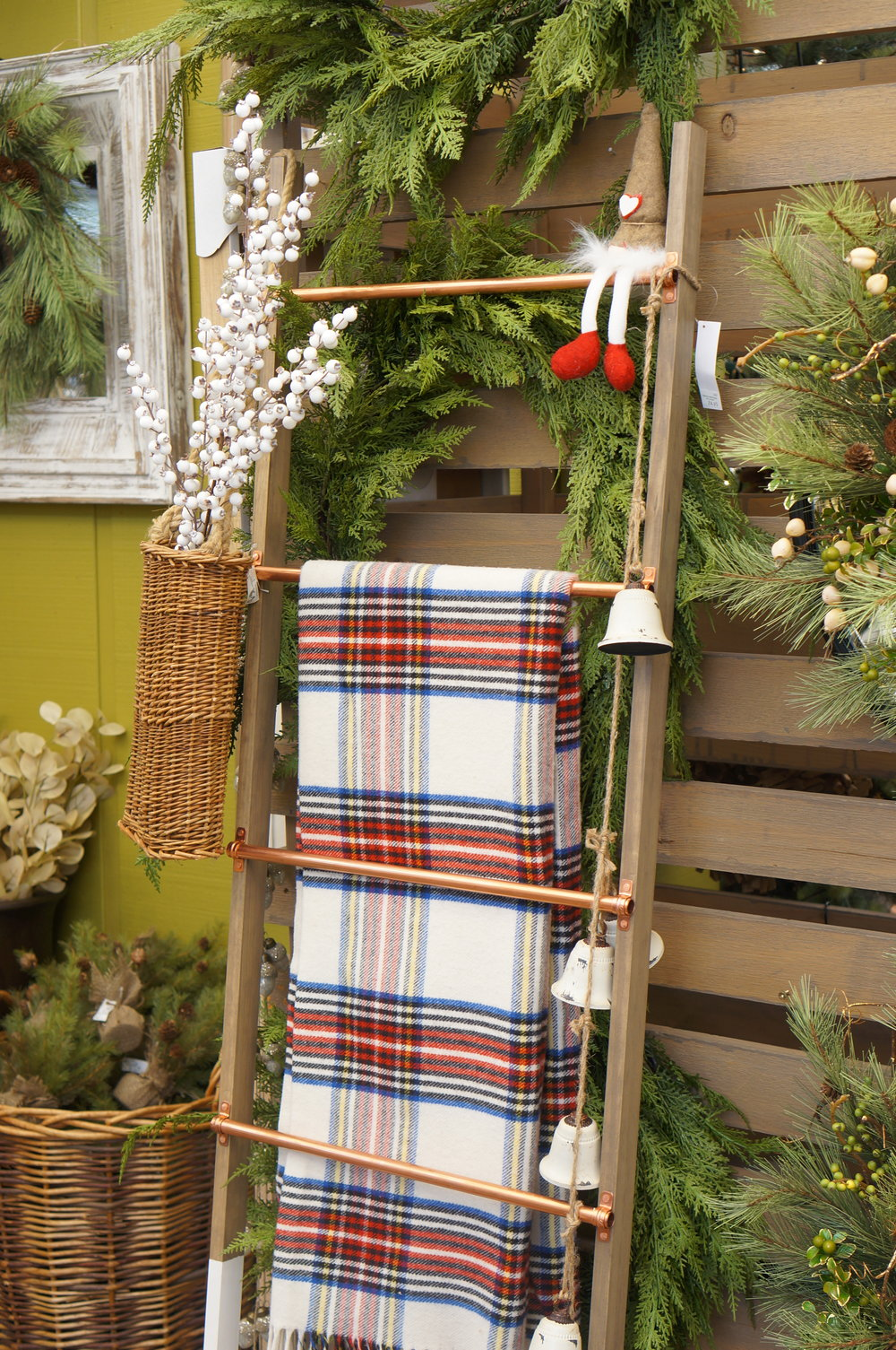 Christmas decor on a blanket ladder