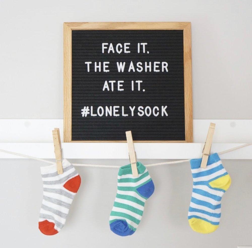 stray socks organized, letter board