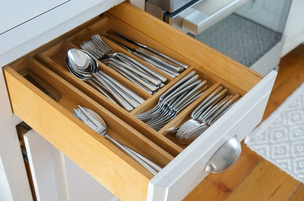 organized utensil drawer with dividers