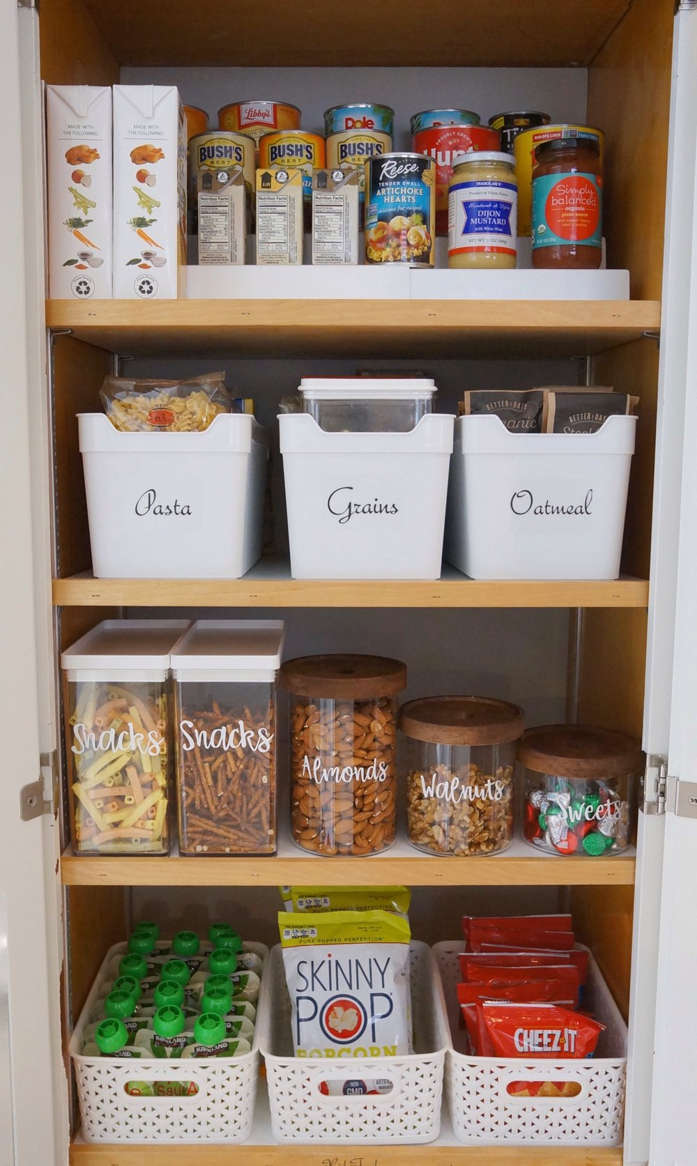 organized pantry and cabinet for snacks and groceries