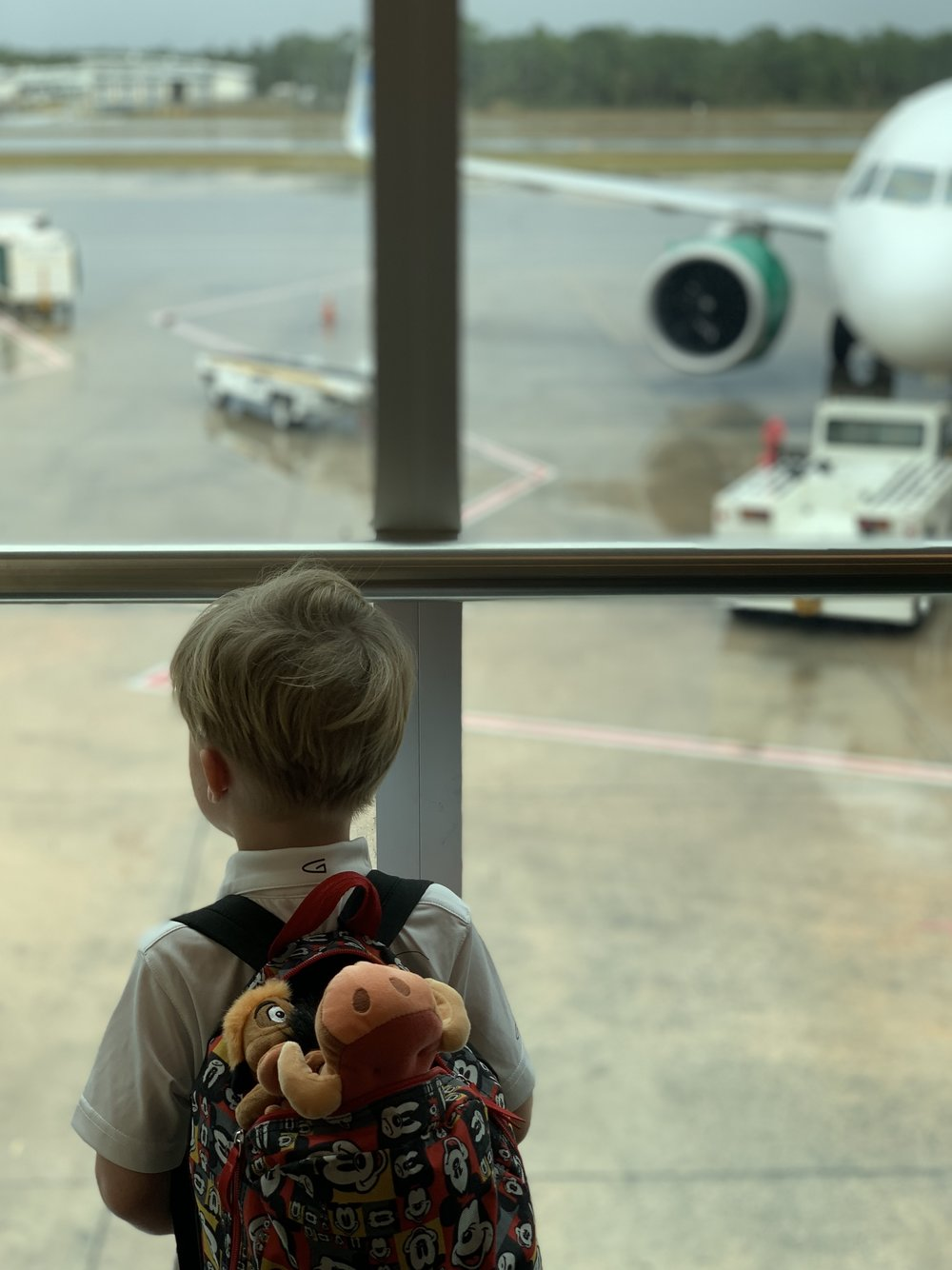 Little boy with a backpack looking at an airplane