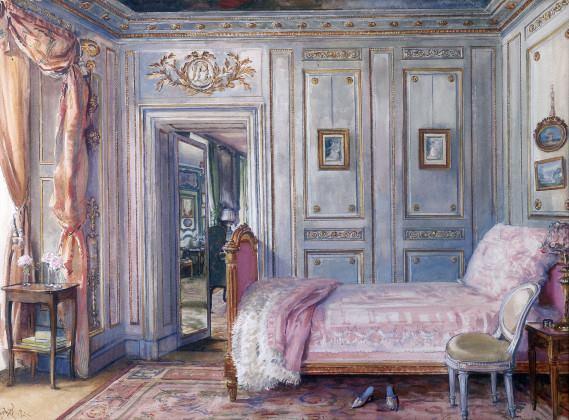 Photo: Design by Elsie de Wolfe, from  https://commons.wikimedia.org/wiki/File:La_Chambre_de_Lady_Mendl,_Elsie_De_Wolfe.jpg