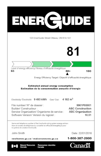 EnerGuide Rating : 1-100 Scale    Quebec and New Brunswick