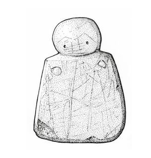'Westray Wife'. Woman of Westray stone figurine, 3000 BCE, Isle of Westray, Orkney