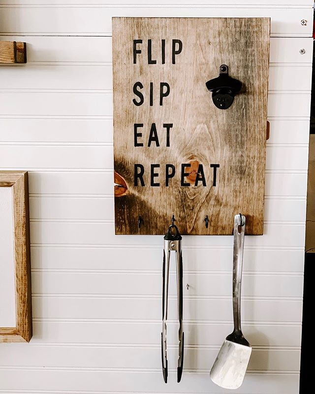 FLIP SIP EAT REPEAT 😎 // Bottle opener & utensil holder ... Necessary for all you grill masters out there! . . . #thecraftedhome #handcrafted #handmade #homemade #handpainted #homedecor #homedesign #homegoods #personalized #custom #customdesign #woodwork #woodcraft #wooddesigns #woodsigns