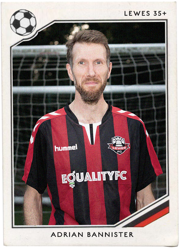 NAME:  Adrian Bannister  POSITION : Left back (on the bench)  TEAM : Lewes FC 'The Mighty Rooks'  FOOTIE MOMENT:  David Beckham scoring a free kick against Greece during the World Cup 2002 Qualifying campaign