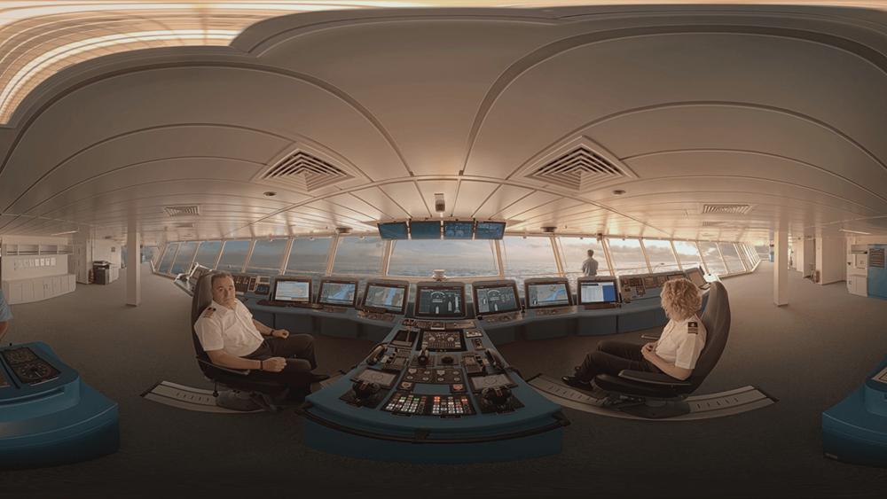 The bridge of the Celebrity Edge with Captain Costas Nestoroudis in 360° video