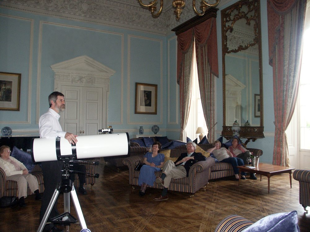 David with guests in the beautiful Blue Room at Holme Lacy House Hotel, Herefordshire