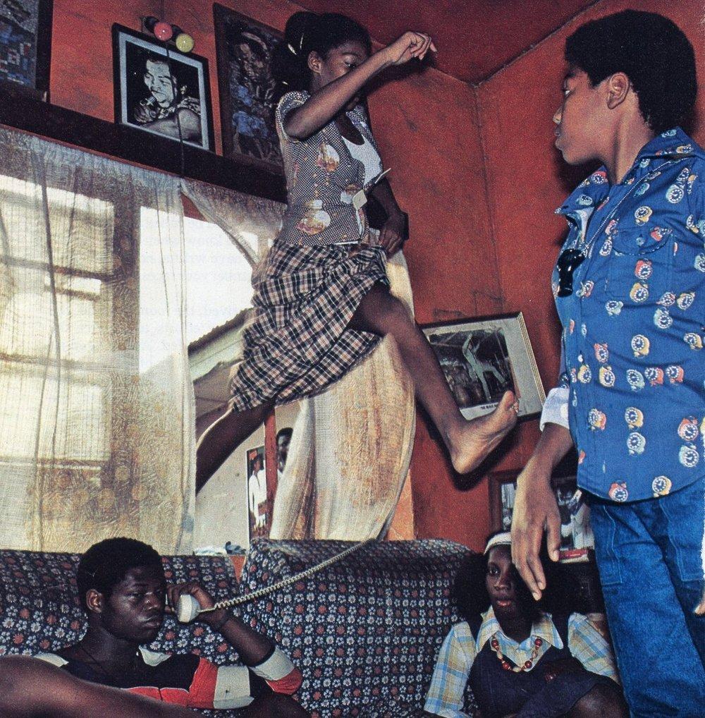 A fan vaults through Fela Kuti's window, Nigeria 1979, by Bruno Barbey