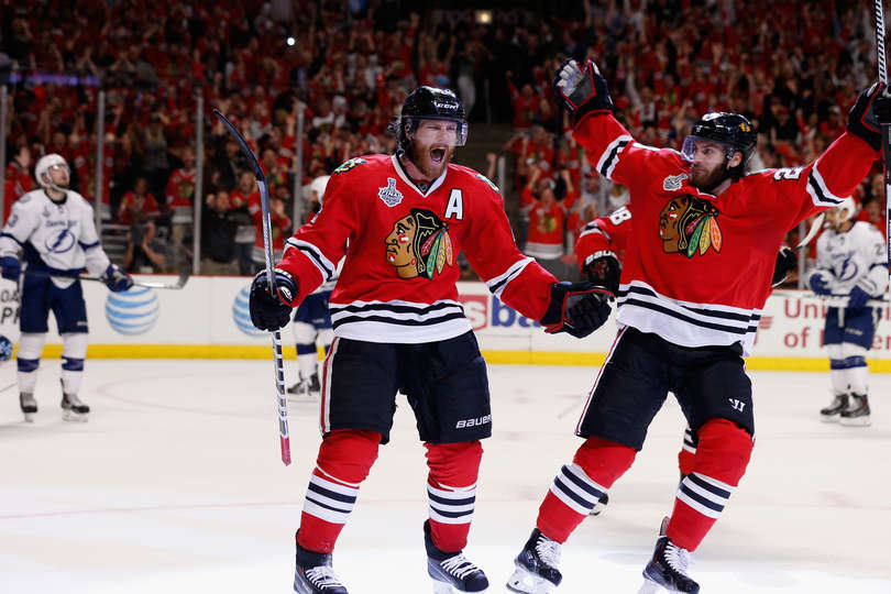 Duncan Keith Celebrates A Goal in Game Six - Photo by Scott Audette / NHLI via Getty Images