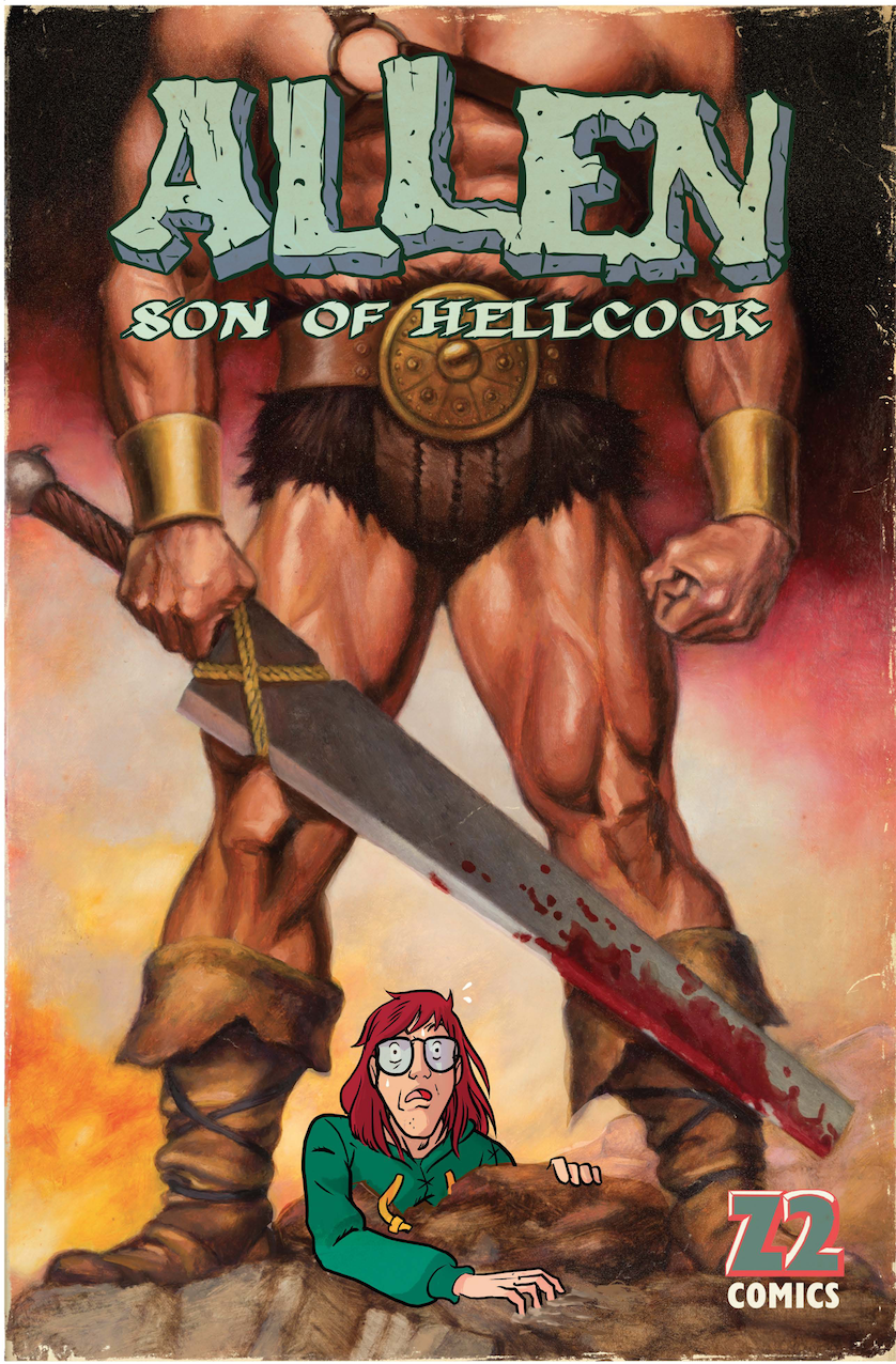 Allen Son of Hellcock: By Gabe Koplowictz, Will Tracy and Miguel Porto  Long before darkness descended upon the realm, Mungletown was protected by noble heroes led by the great loin-clothed warrior Hellcock. So fearsome was his might that . . . well, actually, a dragon eats him on page nine. But never mind that! Years later he's still hanging around as a ghost to cajole his disappointment of a son, Allen, into taking up the mantle and becoming a proper heir to the Hellcock legacy. But Allen prefers a simpler life of eating sandwiches, drawing his own pretty terrible comic books, and being afraid to talk to girls.