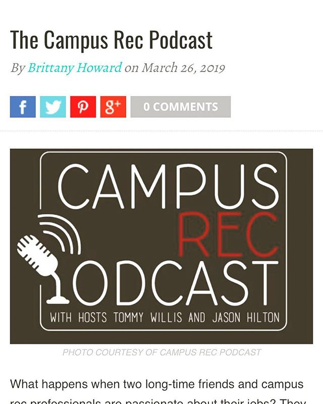Thank you Campus Rec Magazine for featuring the Campus Rec Podcast today!  https://campusrecmag.com/campus-rec-podcast/  #campusrec #campusrecmagazine #nirsaregion2 #campusrecreation #easternkentuckyuniversity #moreheadstateuniversity