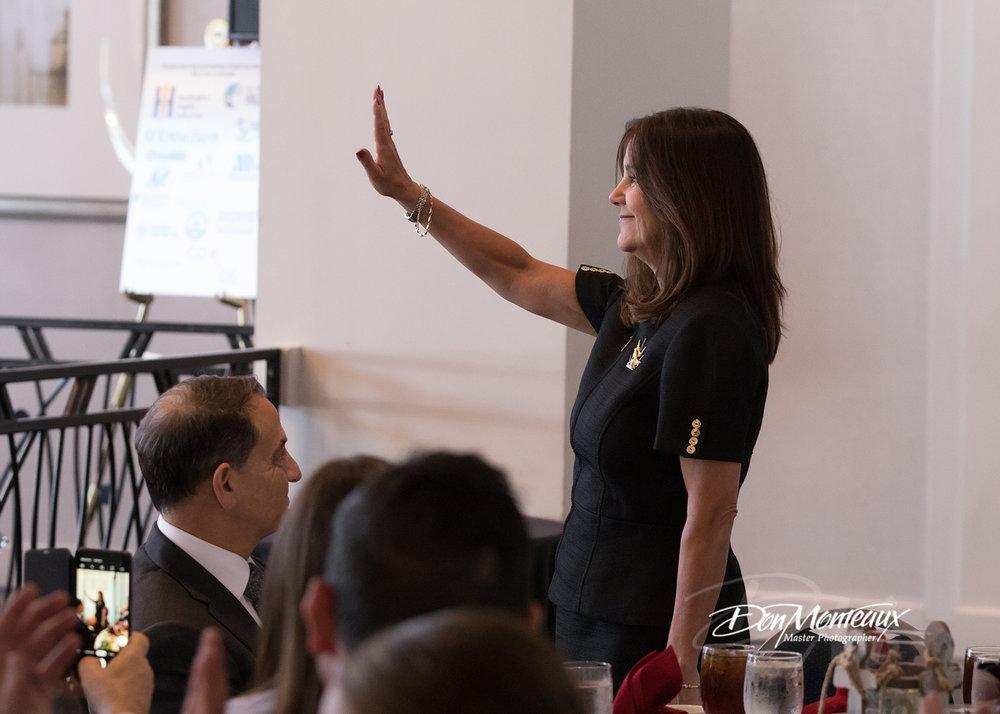 Image of Karen Pence waving to the crowd
