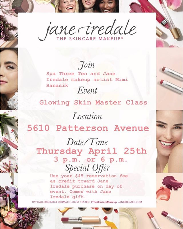 Next Thursday! Join us as we focus on achieving beautiful, glowing skin and finishing the look with gorgeous @janeiredale makeup. Availability is limited, schedule now! . . . . #janeiredale #rvabeauty #westhamptonrva #makeup #beauty #glam