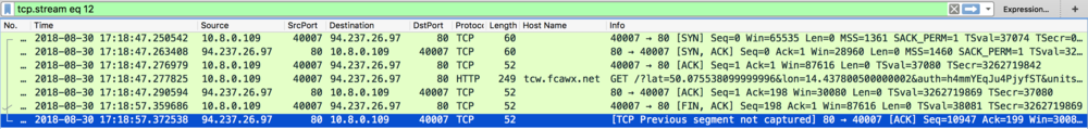 Figure 3. Details of the TCP connection generated by the 'Transparent clock & weather' shows that there is no data retrieved from the server.