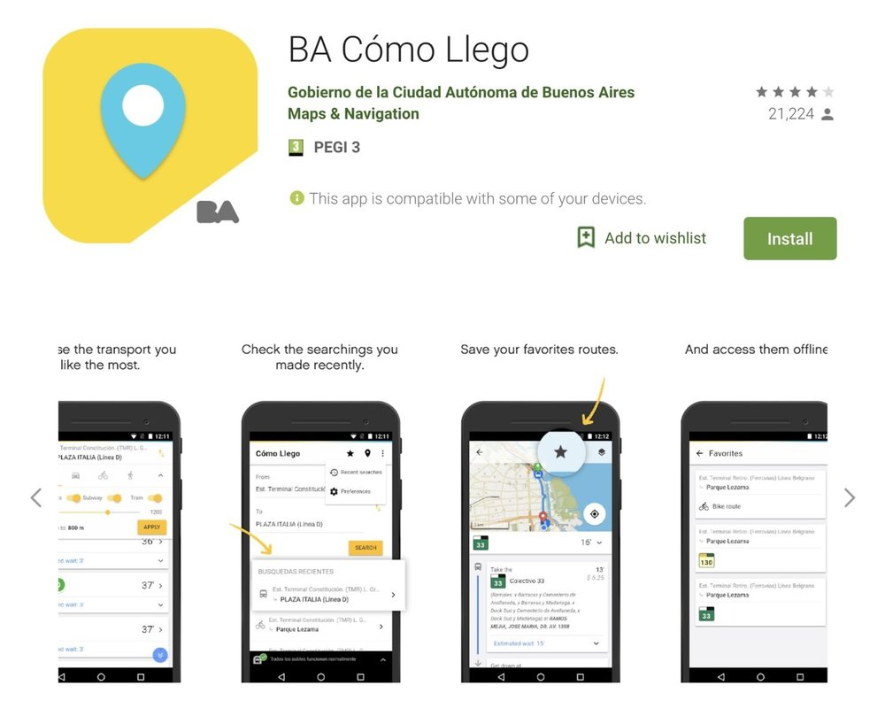 """Application """"BA Cómo Llego"""" as advertised in the Google Play Store. Source: Google Play Store. Date: 2019-04-02."""