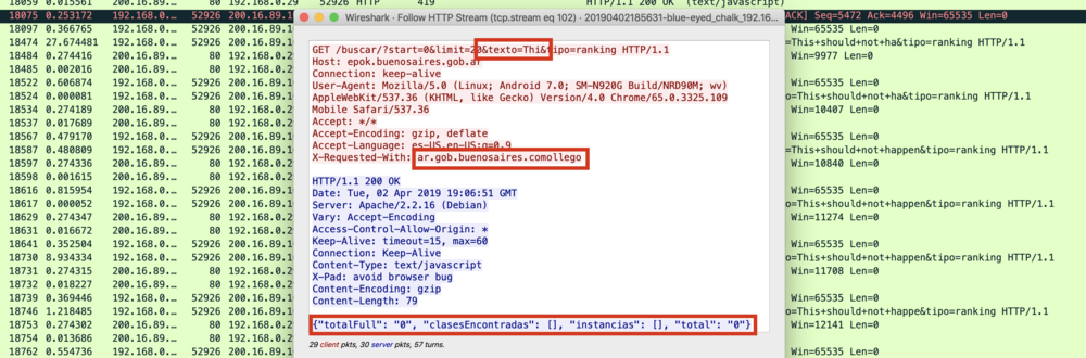 """Figure 1 - All information is sent in clear text. As the user types in the application, the partial text typed is sent to the server to retrieve possible matching locations. This Figure shows the partial text """"Thi"""" being sent. It also shows that the complete HTTP request is not encrypted and therefore anyone with access to the traffic can see what you type."""