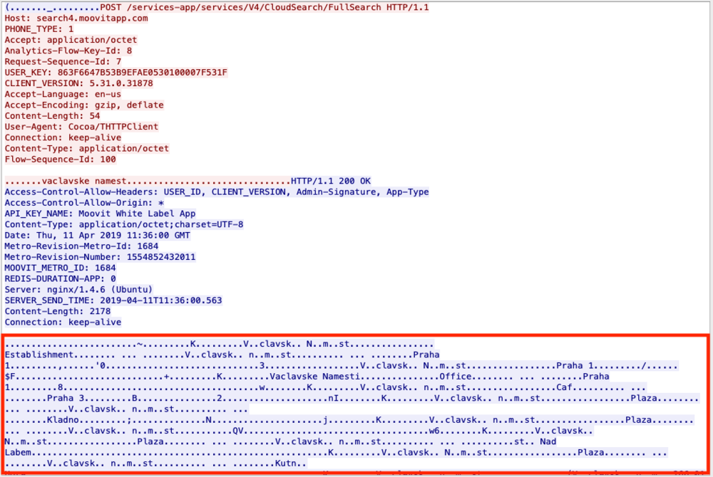 Figure 4 - The partial text typed is sent to the server to retrieve possible matching locations, which are sent back by the server unencrypted.