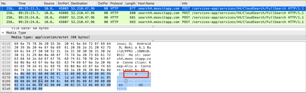 """Figure 6 - As the user of """"Moovit"""" types, the information is sent in clear text over the network and letter by letter. This leaks not only what you search, but it opens the possibility to use keystroke dynamic technics to know who you are. This figure shows the user starting to type the letter 'a'."""