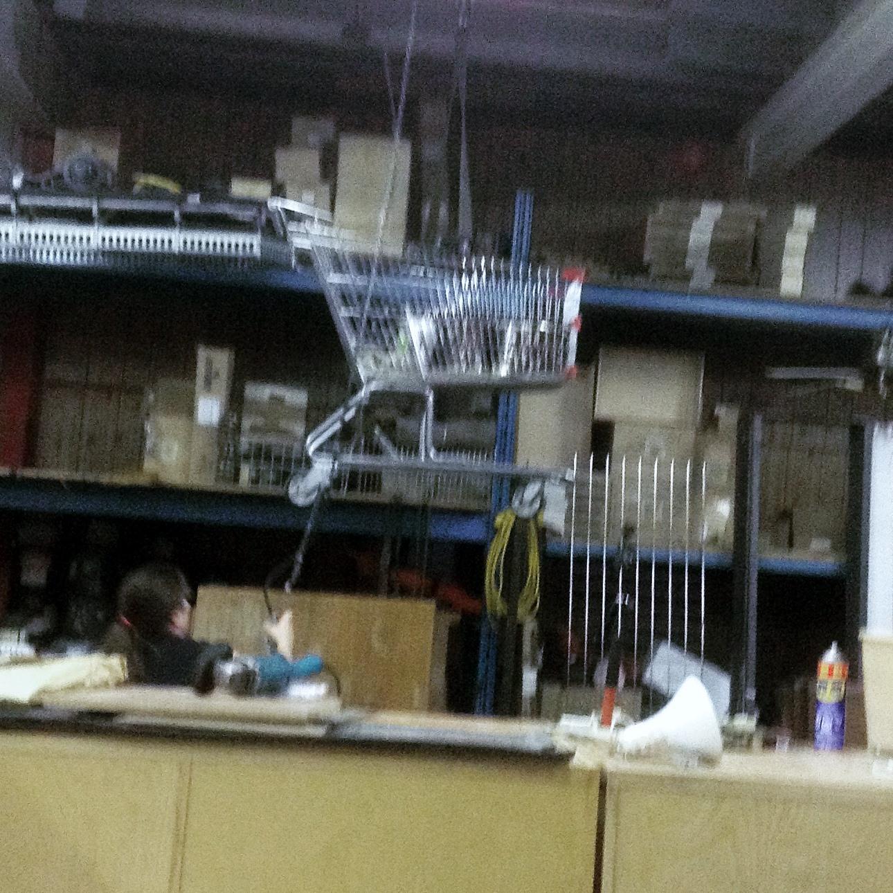 Shopping cart in the air