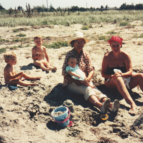 Kobæk beach, Skælskør Denmark 1986. Me on aunty Olg's lap with mum and brothers Tom and Sam.