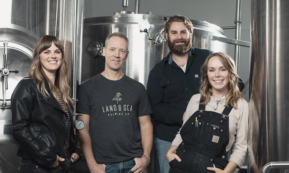 L-R: Hanna Walker (Owner, Creative Director), Jason Walker (Owner), Brett Clarke, Tessa Gabiniewicz (Head Brewer).