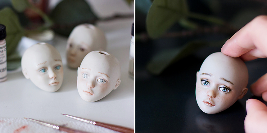 Painting porcelain dolls. by Nymphai Dolls