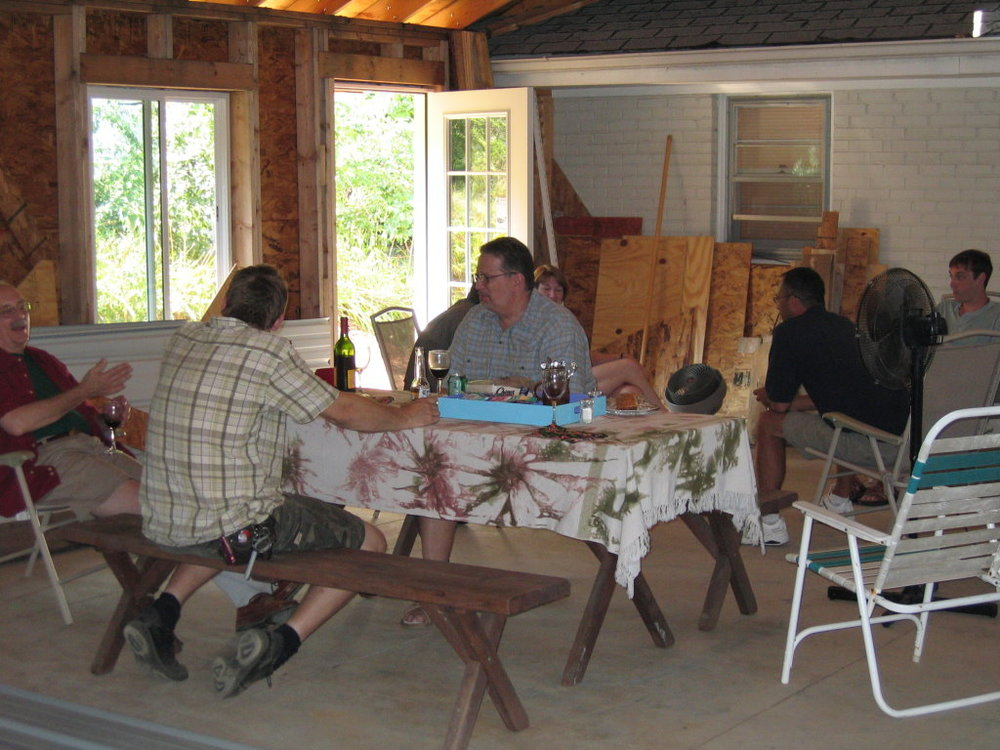 We had the first of the family gatherings in the studio in July 2005, while the inside was still being finished.