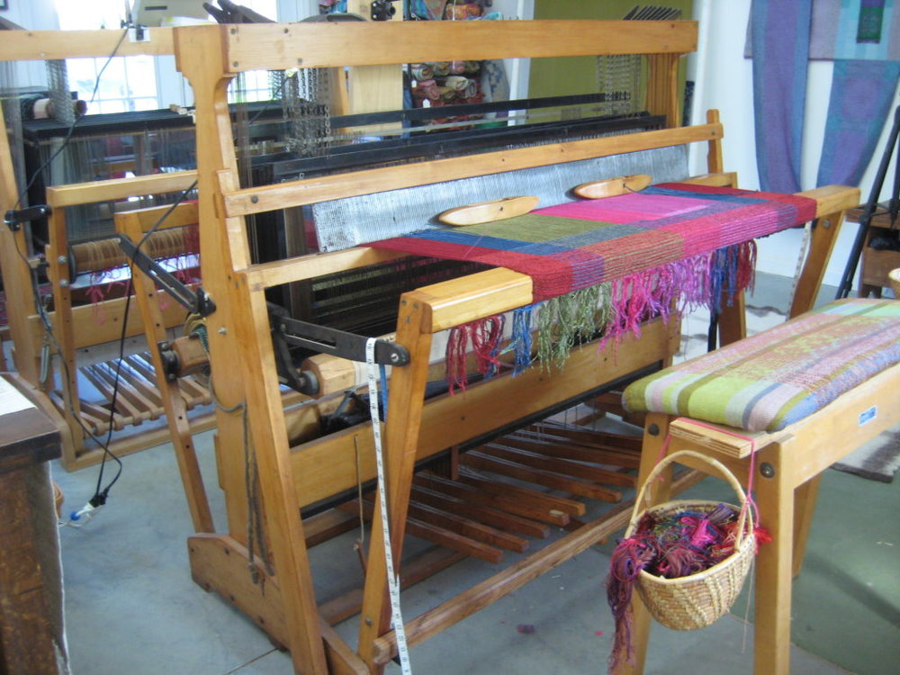 This is the oldest of my looms -- a ten harness Macomber that I got when Gary was in graduate school in Tallahassee in the early 1970s. I bought it from Dr. Hoover who ran a rehabilitation center in Virginia until he retired to Florida. He purchased it after attending a weaving session at Penland.