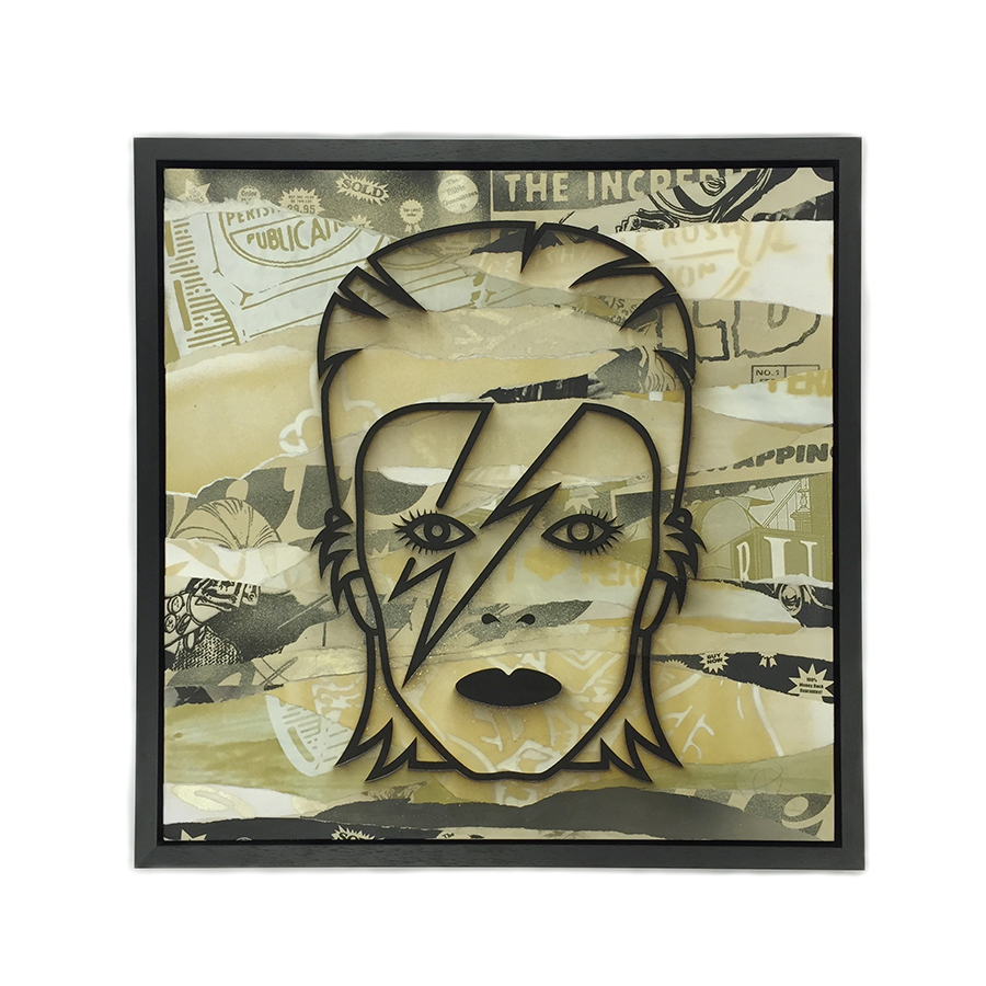 portrait of David Bowie from screenprints gold posters poster art collage art street art group exhibition gallery show