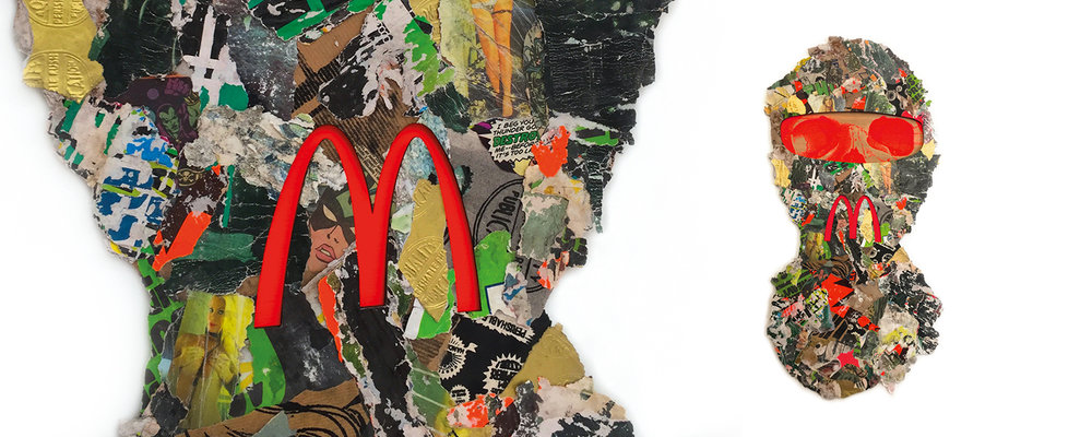 paper collage made from paper sourced in Amsterdam street art skull mcdonalds logo