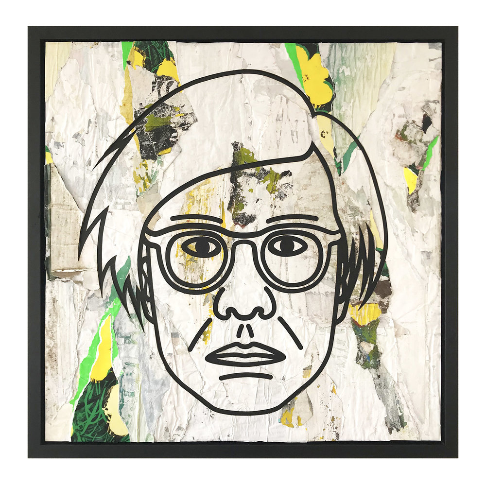 Andy Warhol portrait made with paper sourced from this location
