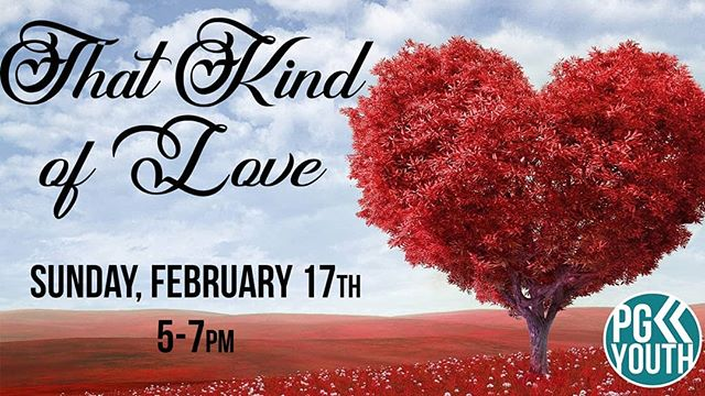 This Sunday we're Valentine's Day themed! We will look at a special kind of love and love on each other! See you then! #pgyouth