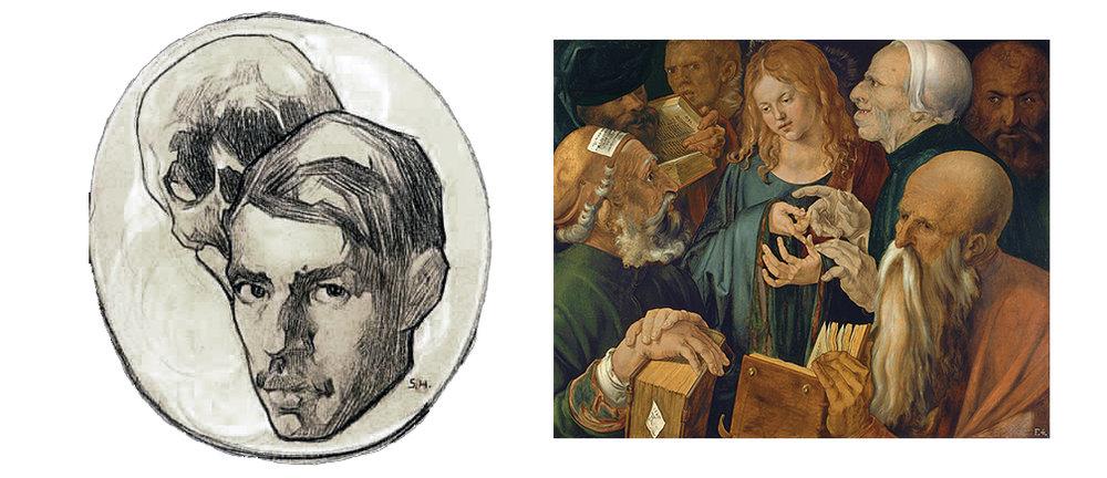 Saturnino Herrán ,   Self portrait , 1918 | Albrecht Dürer,  Christ Among the Doctors , 1506