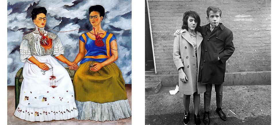 Kahlo,  Las Dos Fridas , 1939 | Arbus,  Teenage Couple on Hudson Street, NYC , 1963