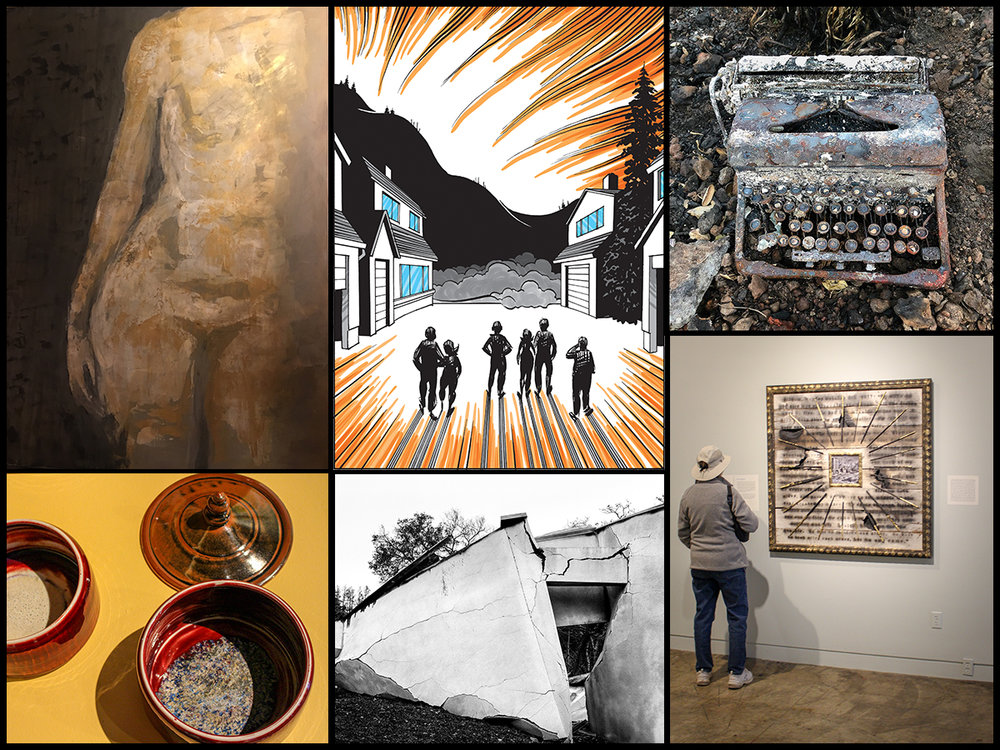 1. Oscar Aguilar Olea, Danae, Egg tempera with acrylics on canvas 2. Brain Fies, A Fire Story, Page 5, Ink on Bristol board 3. Gregory Roberts, Sonoma Ash Project 4. Norma I. Quintana, Typewriter, Archival pigment print 6. Peter Hassen, Love/Loss, mixed media.