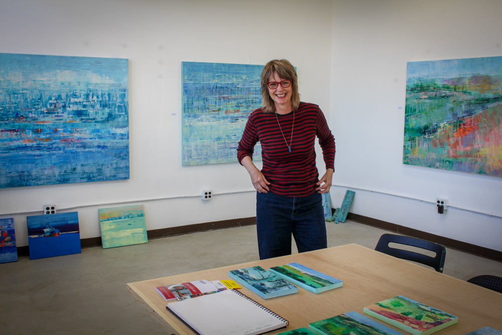 Suzy Barnard  in her studio in the Noonan Building