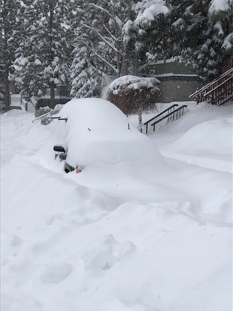 The neighbor's car, which has since vanished under significantly more snow.