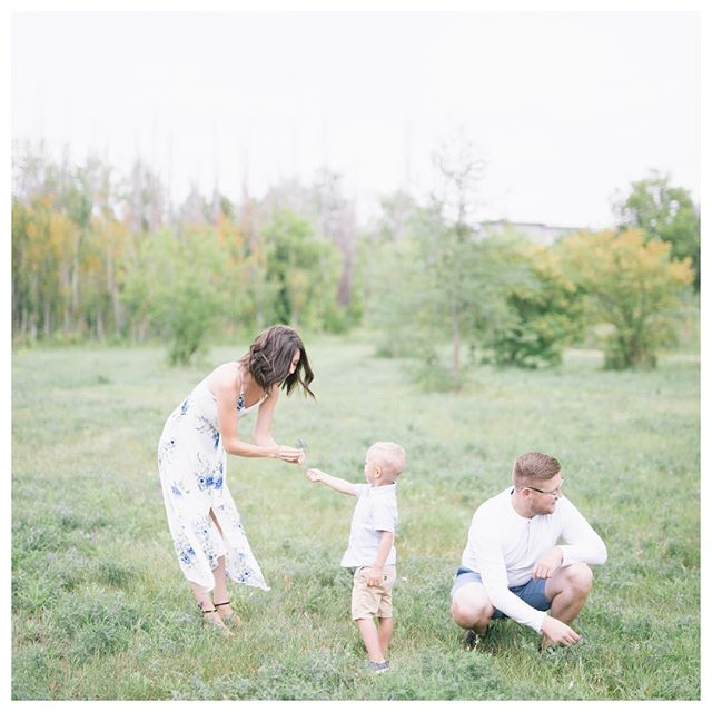 "Ashley + Theo + Chris, picking flowers in the park 🌼 — I have grown to absolutely adore family sessions. The candid photographs, natural connections, and of course the bribes. Most parents are keen on getting ""the perfect shot"", you know that one of everyone looking at the camera, smiling perfectly as the sun sets on the horizon. Well I was pleasantly surprised when Ashley and Chris said, ""He's three years old and just wants to run around. If we get ten photos, we'll be happy!"". Hopefully they will look at their inbox this evening and see a few more than 10 ✨ Ashley + Chris, thank you for your realistic attitude 💓"