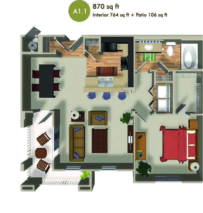870 square foot floorplan