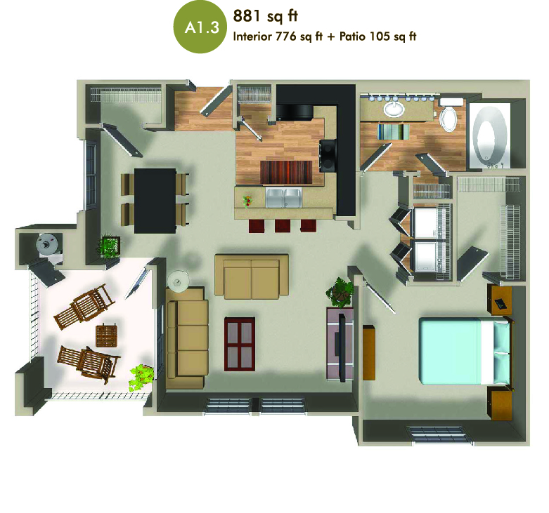 881 square foot floorplan